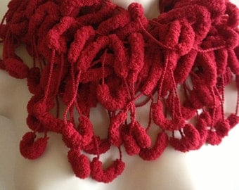 scarf, scarflette, lariat, knitted jewellery, multicoloured scarf, deep red, wedding accessories, special occasion accessory