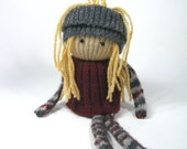 Rag doll Gray burgundy doll  Blond hair Eco friendly toy Soft scrap dolly