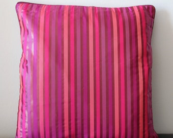 Pink Cushion Cover, Pink Pillow Cover, Pink Throw Pillow, Decorative Pillow, Fuchsia, Shimmer, Striped, Handmade, Bright- 'Pink Nation'