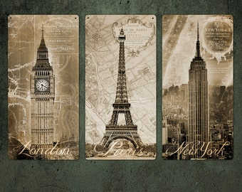 London Paris and New York Metal Triptych FREE SHIPPING