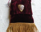 wine color crushed velvet purse -  with gold braided fringe