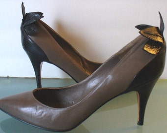 Vintage Versani Taupe Leather Stilettos With Leaf Embellishment Made in Italy