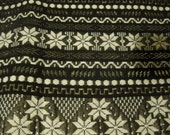 Sparklleeee Ethnic  Black and Silver Geometric  Woven Cotton Fabric