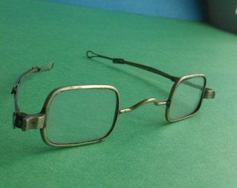 Antique Straight Temple Square Eyeglasses