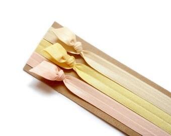 Buttercup Set: 3 Handmade Elastic Headbands, Adult Sizes, Solid Colors, Pastel