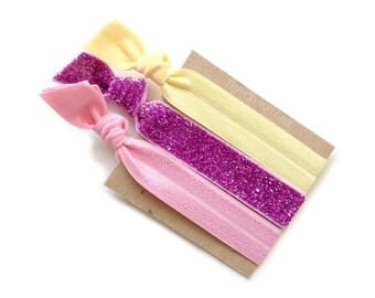 Pamper Set: 3 Elastic Handmade Hair Ties, Glitter,