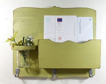 Large Mail Organizer, shabby chic, floral vase, mail holder, key hooks, mail holder, wood, distressed, vintage, decor,painted Light Avocado