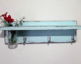 Cottage decor shelf 3 key hooks with floral vase, coat hooks, home organizer, shabby chic, home decor,  painted Baby Blue