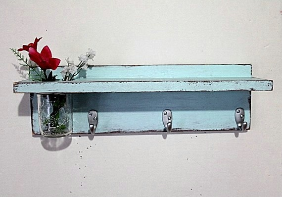 Cottage decor shelf 3 key hooks with floral vase, coat hooks, home organizer, shabby chic, home decor,  painted Baby Blue