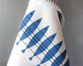 Linen Cotton Dish Towels Fish Blue White - Tea Towels