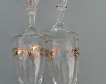 Lifetime China Homer Laughlin Prairie Gold Pattern - Set of 7 Juice or Wine Glasses 4 oz.