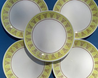 Taylor Smith Taylor Ironstone Atomic Brown and Yellow Elegance RARE Pattern - Dinner Plates - Set of 5