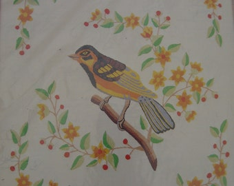 Vintage Crewel Stitchery Kit - Townsend's Warbler - Bird on Branch - Pik DMC Co. - NIP