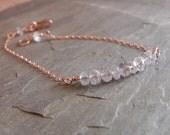 Rainbow Moonstone Bar Bracelet//  14 K Rose Gold Chain/ Rainbow Moonstone bar bracelet/  Trendy/ delicate/ Minimalist