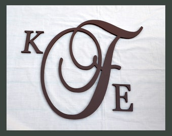 Large Script Monogram Wooden Letter with Initials, Wooden Wall Letters, Wedding Letters- PAINTED