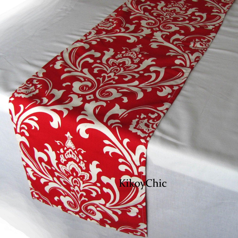 red table runner red table runner damask table runner red. Black Bedroom Furniture Sets. Home Design Ideas