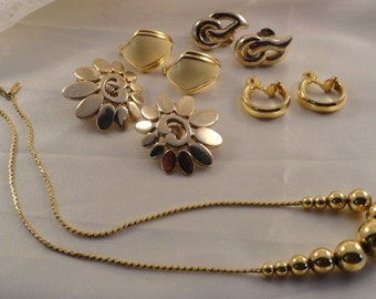 Monet Clipback Earrings and Choker Chain Bead Necklace Gold Tone Lot Signed Vintage Jewelry Flower Clip On Clip Back