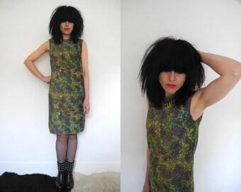 60's green/yellow/purple psychedelic print metallic jersey sleeveless shift dress.