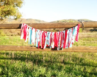 Rag Tie Garland - Red and Aqua Theme Decor - Newborn Photo Prop - Birthday Decor - Wedding Decor - Baby Shower Decor