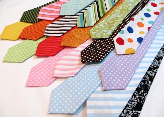 Neck Tie- Toddler, Boy, Pre-Teen & Baby (Green, Black, Blue, Red, Black, Orange, Floral, Plaid, Stripe, Dots, Paisley) Cotton, Adjustable