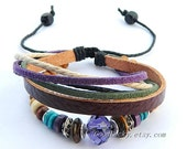Unisex simple fashion Violet Jewellery leather bracelet--Violet   Cream-colored and black Wax rope  Wooden beads  brown leather bracelet