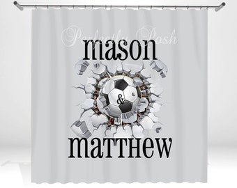 Soccer Personalized Custom Shower Curtain Monogram with Name or Initials perfect for any bathroom