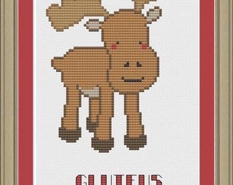 Gluteus maximoose: funny moose cross-stitch pattern