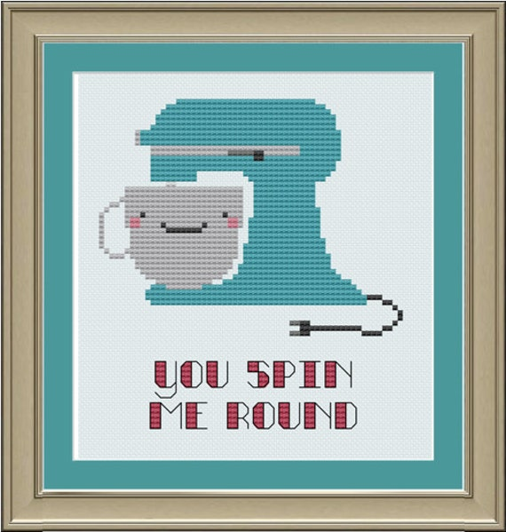 You spin me round: cute stand mixer cross-stitch pattern