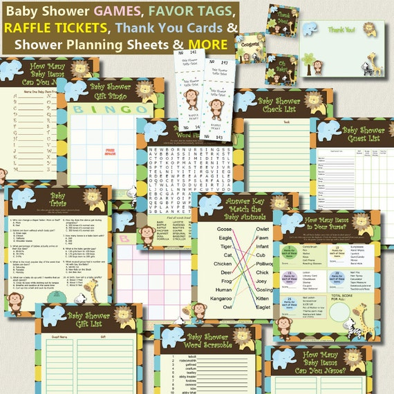 instant download jungle animal printable value game pack favor tags