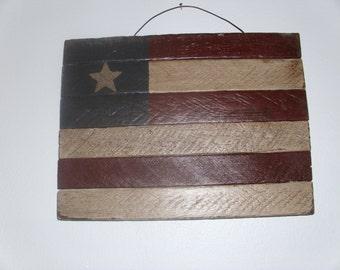 Primitive patriotic 10 x 12 lathe painted flag