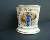 Vintage The Policeman Shaving Mug-- White with Gold Trim