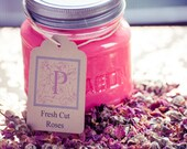 Fresh Cut Roses Scented Soy Candle in 8oz Mason Jar