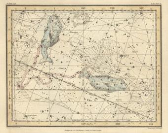 Constellation print, Canvas art, Wall decoration, Pisces, 60