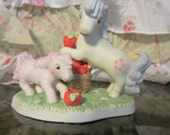 1985 My Little Pony figurine Apple Orchard, Ceramic Collectible Ponies Vintage 1980s Red Green Pink Yellow Kawaii Baby Cotton Gift Birthday