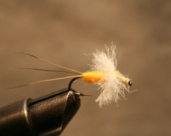 Fishing Fly - Hand-Tied Trout Fly - Two color Spinner Fishing Fly - Orange n Pale Yellow - Moose Hair Tail -  Poly Wing - Michigan Trout Fly
