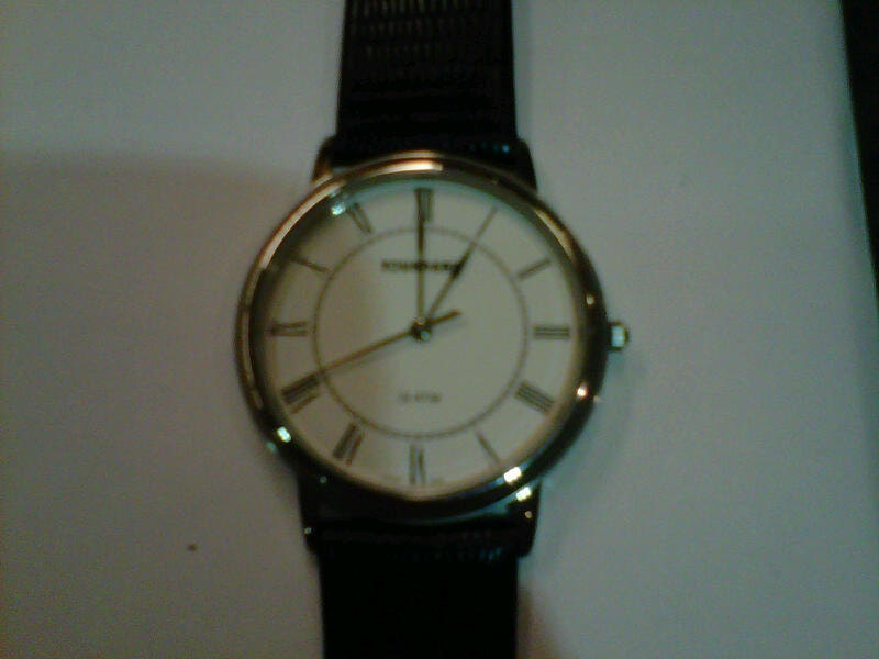 Tourneau mens stainless watch 3 atm black leather strap
