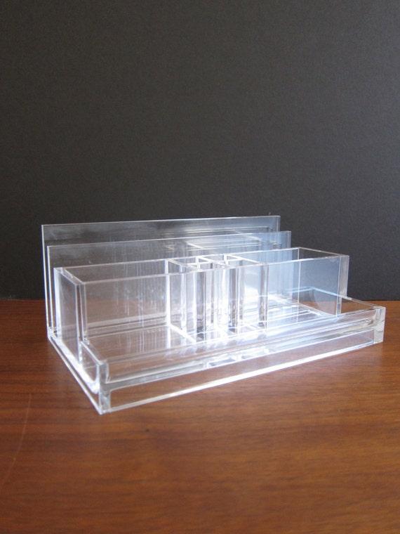 Vintage guzzini lucite desk caddy mail organizer in clear - Acrylic desk organizer ...