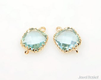 2pcs - Aquamarine Glass and Gold Framed Connector / aquamarine / 16k gold plating / glass / pendant, connector / 8mm x 12mm / SAQG004-C