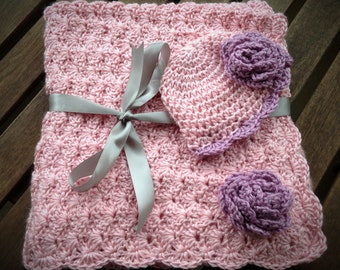 Crochet Baby Blanket with Matching Hat - Pink