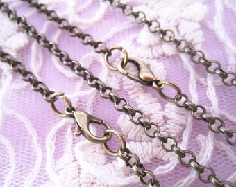 15Pcs Of 50cm  2mm Antique Bronze Round  Necklace Chain With Lobster Clasp