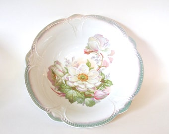 Antique Bowl 1920's Large Lusterware Porcelain Floral Serving Bowl Green with White Roses |  Lehmann Arzberg Germany | Dining Serving Bowl
