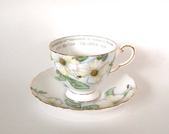Vintage English Teacup Tuscan Fine Bone China Tea cup and Saucer with Dogwood Flowers Commemorating British Columbia Circa 1958 - England