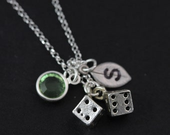 Two Cute Little Dice, Necklace, Personalized Sterling Silver Dices necklace.