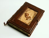 Vintage look handmade leather journal-A tribute to theatre-,  5.5x7.5inch (14x19cm) , in gift box. - dragosh