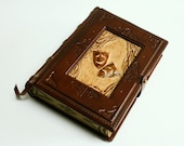 Vintage look handmade leather journal-A tribute to theatre-,  5.5x7.5inch (14x19cm) , in gift box.