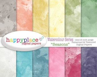 Watercolour Digital Paper for Scrapbooking 12x12in, For Digital Backgrounds, Invitation Supplies. Girly Paper, Commercial Use. Seasons