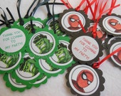 Spiderman Hulk Hero Party Favor Tags