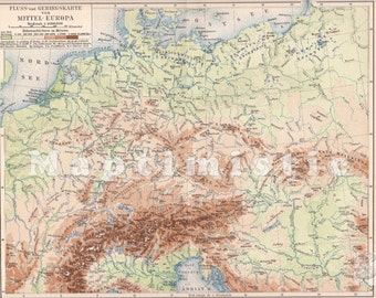 1894 Geographical Map of Central Europe with the Alps in the 19th Century Antique Map