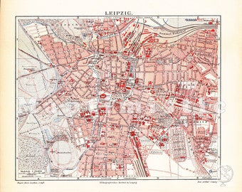 1895 City Map of Leipzig, Germany in the 19th Century - Antique Map