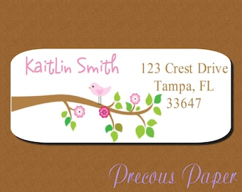 60 bird return address labels Personalized PRINTED bird stickers bird favor stickers bird address labels